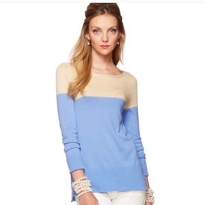 Lilly Pulitzer blue beige two toned sweater